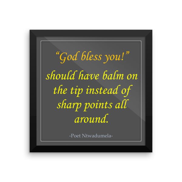 """God Bless You"" Framed photo paper poster"