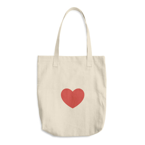 Cotton HEART Love You Love Me Tote Bag