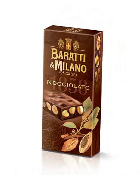 "Baratti & Milano Nocciolato Gianduja Bar with Whole Hazelnuts ""1858"" (50g) is an extraordinary smooth and creamy Gianduja bar that contrasts beautifully with the crunch of the whole toasted hazelnuts harvested in Piedmonte Italy. You will experience the taste of chocolate and hazelnuts in a new and wonderful way. Packaged in a rectangular brown box covered with whimsical images of the Cacao plants and showing off the actual thickness of the delicious chocolate containing whole hazelnuts."