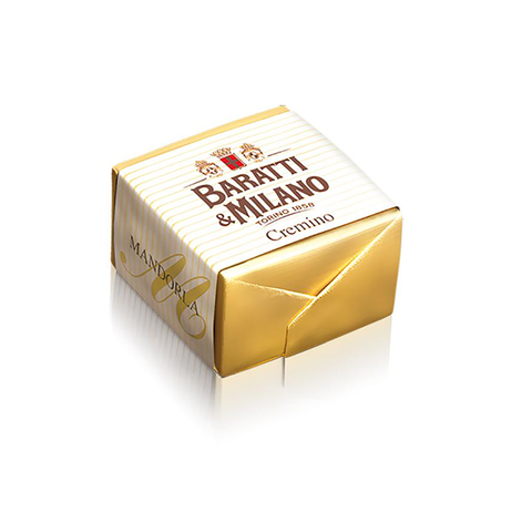 Baratti And MIlano Luxury Italian Chocolate Bulk Almond Cremino  wrapped in gold foil and a white stripped paper with the Baratti logo on the front, on a white back ground.