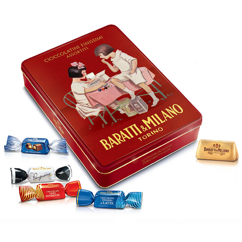 Baratti & Milano Grand Assortment 1920s Historic Dark Red Limited Edition Gift Tin of Fine Assortment Chocolates 300 Grams
