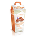 Baratti and Milano Marrons Glaces Candied Chestnuts are featured in a tall beautiful cardboard box, orange and white, with metallic leaves on the side, depicting 3 chestnuts on the front, on a white background.