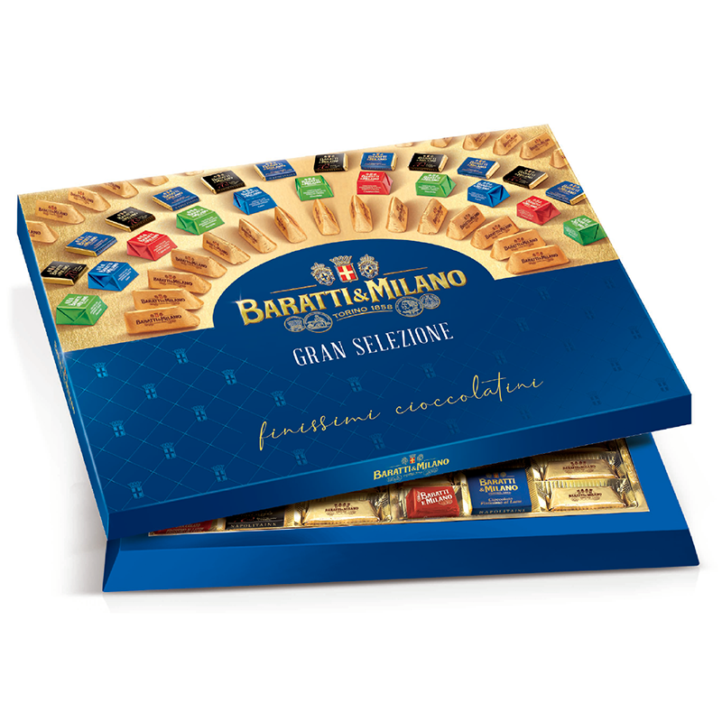 Baratti & Milano Large Assortment Gift Box includes an assortment of the finest and most popular Baratti & Milano Chocolates. Elegantly packaged in Royal Blue with logo in gold and images of all of the chocolates available in the assortment.  All on a white background.