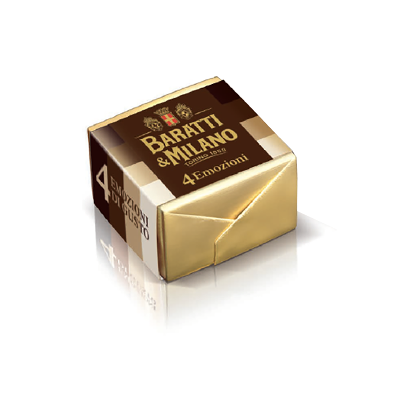 This beautiful chocolate is wrapped in gold foil and then in paper with 4 shades of brown stripes, representing the four layers of the four emotions cremino. All on a white background.