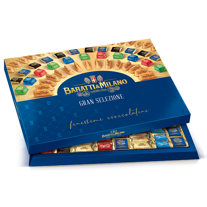 Baratti & Milano Large Assorted Giant Gift Box is a statement piece and includes an assortment of the finest and most popular Baratti & Milano Chocolates. Elegantly packaged in Royal Blue with logo in gold and images of all of the chocolates available in the assortment. All on a white background.