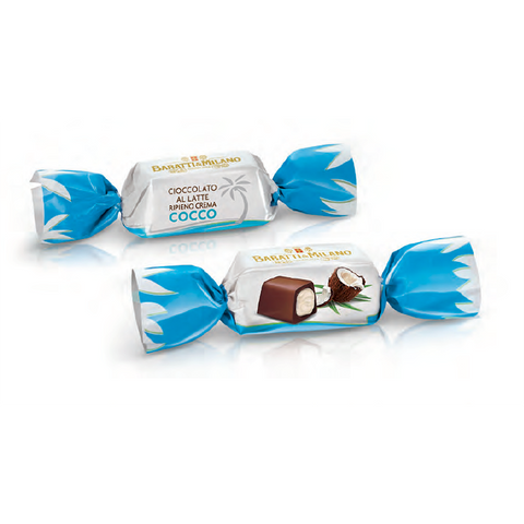 The Baratti and Milano Milk Chocolate with Coconut Cream Filling Praline Chocolates are wrapped in blue and white wrappers, farfalle style, or butterfly style with a picture of a coconut on a white background.