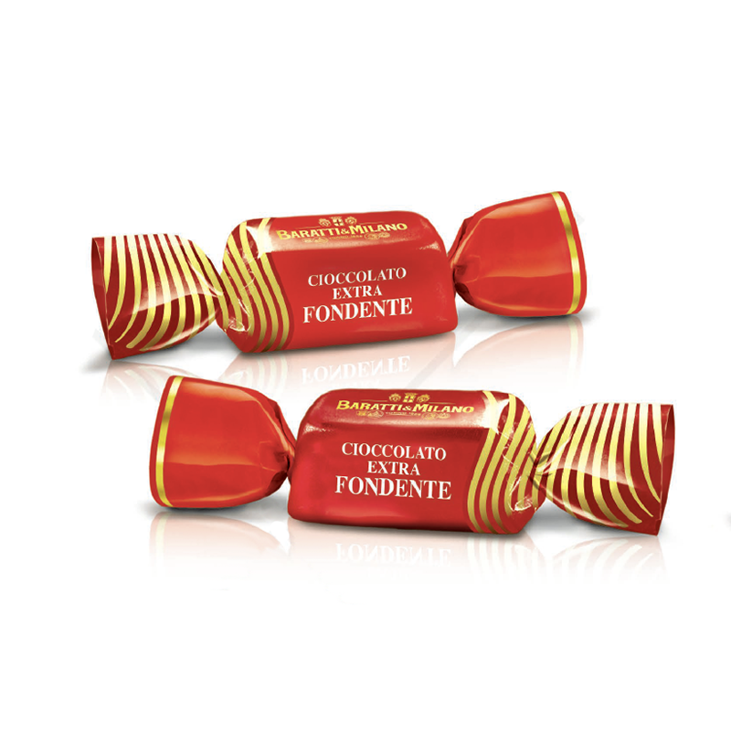 Image is of two Baratti and Milano Solid Dark chocolates wrapped in elegant red accentuated with gold stripes all on a white background.