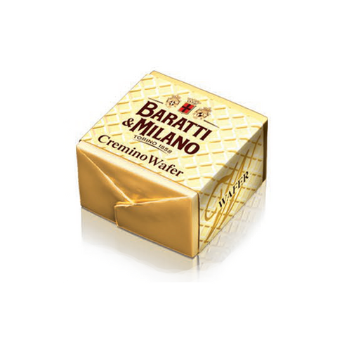 The famous crisp wafer cremino by Baratti and cremino is wrapped in gold paper with a wafer print paper wrapper on a white background.