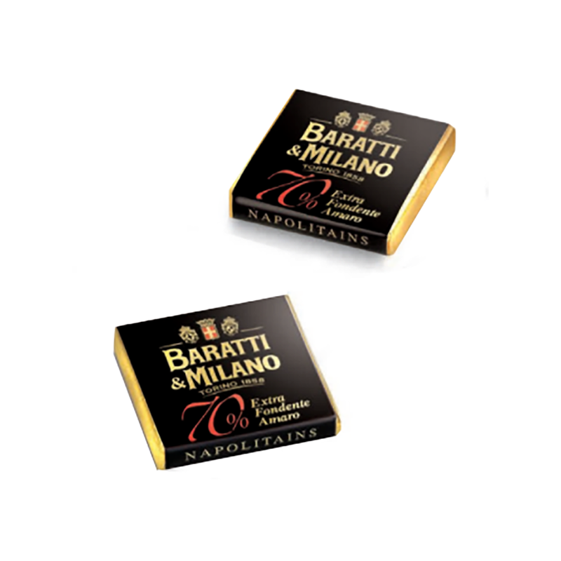 Image shows two thin Baratti & Milano chocolates wrapped in luscious black with gold logo and description on each chocolate. All on a white background.