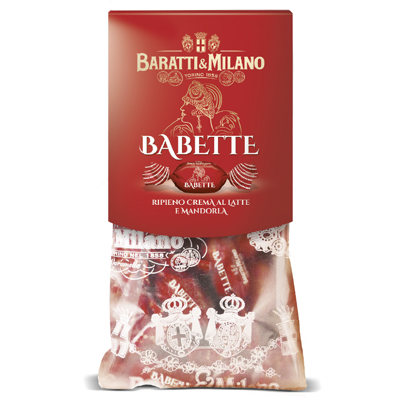 Almond cream filled Baratti and Milano Babette candies wrapped in an elegant red inside the famous see through sacchetto (little baggie) stamped with the Royal House of Savoy crest!
