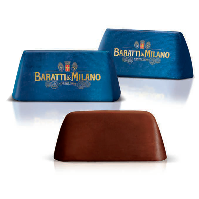 Baratti And MIlano Luxury Italian Chocolate Dark Chocolate Gianduiotto Bulk dressed in Royal Blue with Baratti & Milano in elegant gold writing and showing an image of one of the three chocolates displayed uncovered to witness the majesty of this particular chocolate.