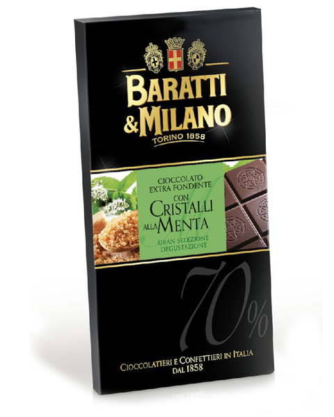 Baratti & Milano Dark Chocolate Bar with Crystallized Mint is a well-balanced bar so perfect it will appeal to both mint-lovers and non-mint lovers alike. Packaged in an elegant black with a pop of mint green portraying images of crystalized mint and also including an image of the chocolate bar uncovered to witness the richness and elegance of the chocolate itself.
