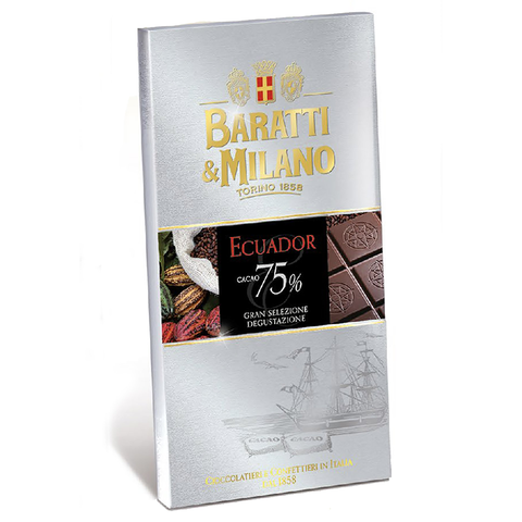 Baratti & Milano Single Source Ecuador 75% Dark Chocolate Bar includes Cacao beans sourced from this region of Ecuador highlight a creamy mouthfeel and desirable flavor palate. Natural occurring notes of hazelnut, orange, and cinnamon make this dark chocolate accessible and comforting. Comes in a white packaging with background depiction of a sailing ship, pictures of cacao beans of all colors and also includes an image of the chocolate bar uncovered to see the richness and elegance of the chocolate itself.