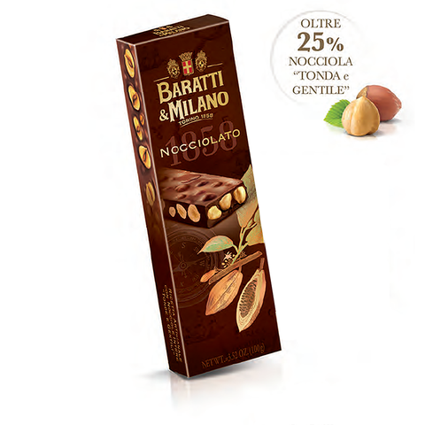 Baratti & Milano Italian Nocciolato Whole Hazelnut Bar 100 Grams