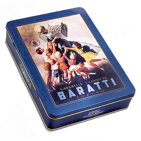 This beautiful keepsake tin is designed after one of our historical tins from our archives, depicting a scene of an Italian Mom giving candies to the neighborhood children.  The Baratti and Milano Boccasile Tin of Natural Fruit Hard Candy tugs at your memory strings with every burst of fruit forward flavor of each individual candy!