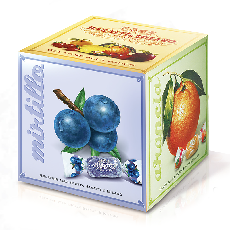Baratti & Milano's Cube of Italian Fruit Gelées has a unique and playful packaging. The image is that of a three dimensional cube with images of the fruits that make of the flavor of these scrumptious Gelées. Fruit forward and bursting with zest, these intensely flavored soft gelées are fun,  playful and delicious! Made with real fruit picked to perfection. Includes Strawberry, Lemon, Orange, Bilberry, Blackberry, and Peach.