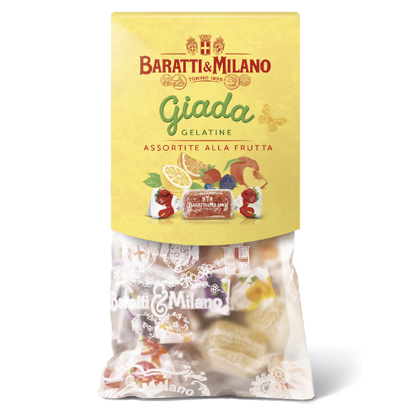 With pops of color and bursting with flavor, this assortment of Baratti & Milano Natural Fruit Gelées are an absolute delight! Packaged in the traditional see through sacchetto sealed with the Royal House of  Savoy Crest.