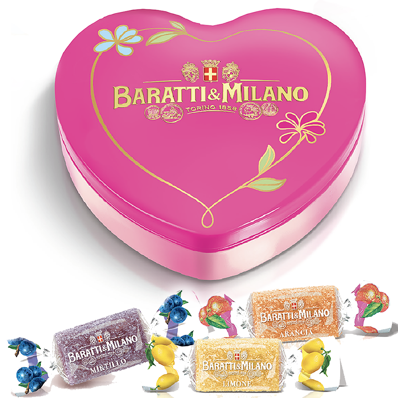 The Baratti and Milano Heart Shaped Tin of Fruit Gelée Candy is truly a one of a kind gift! The gorgeous pink heart shape tin covered in a whimsical floral decal holds the intensely flavored soft gelées that have a playful way of transporting you back to sweet childhood memories. Made with real fruit picked to perfection. Includes Strawberry, Lemon, Orange, Bilberry, Blackberry, and Peach.
