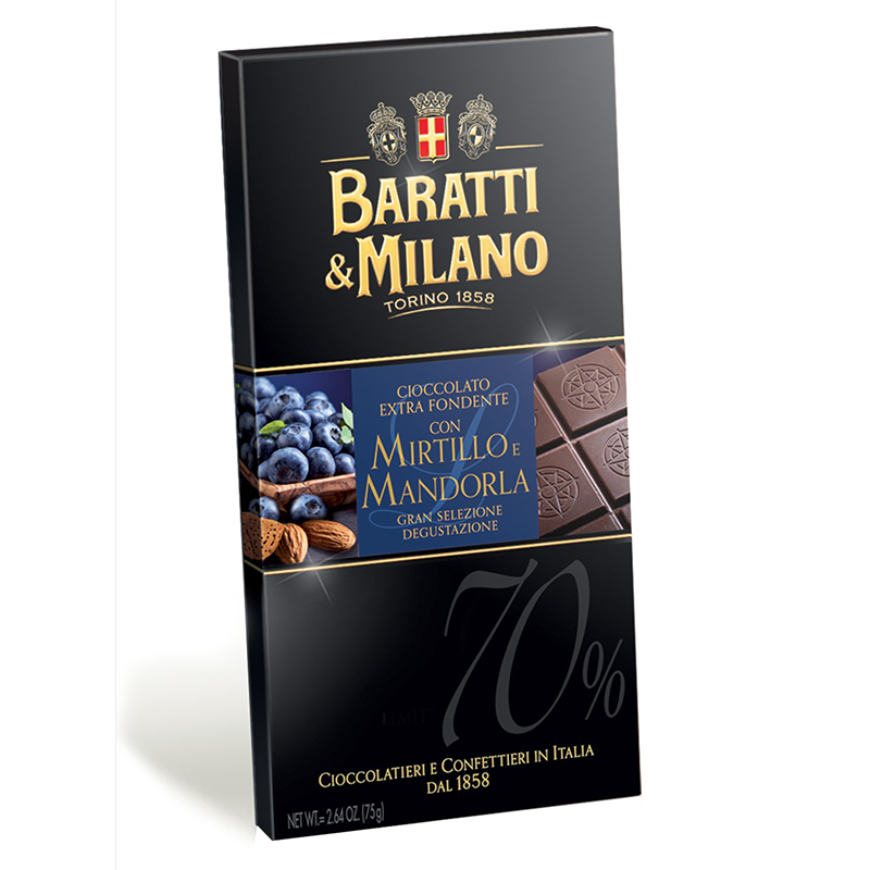 Baratti & Milano Chocolate Bar with Blueberries and Almonds is a perfectly balanced 70% chocolate paired with real Almonds and Blueberries naturally grown in Italy. Packaged in an elegant black and pops of royal blue with imagery of fresh plump blueberries, delicious almonds and a portion of an uncovered chocolate bar allowing you to witness the richness of this great chocolate.