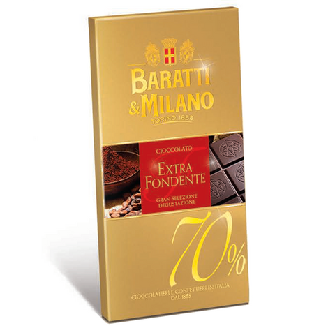Baratti & Milano 70% Dark Chocolate Extra Fondente Bar uses a blend of cocoa beans from Ghana and Ecuador to create a perfectly balanced 70% chocolate. Packaged in a light shade of beige with elegant gold writing. Images of cacao powder, cacao beans and the chocolate itself immerge to allow you to visualize the richness and elegance of the chocolate.