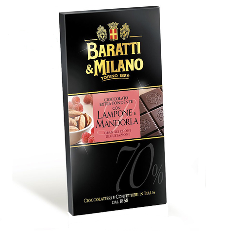 Baratti And Milano 70% Dark Chocolate Raspberry and  Almonds Chocolate Bar is a masterpiece containing a blend of cocoa beans from Ghana and Ecuador to create a perfectly balanced 70% chocolate paired with real Almonds and Raspberries naturally grown in Italy. Elegantly packaged in a deep black with a pink pop of color and images of almonds, raspberries and uncovered chocolate bar to visually see the chocolate.