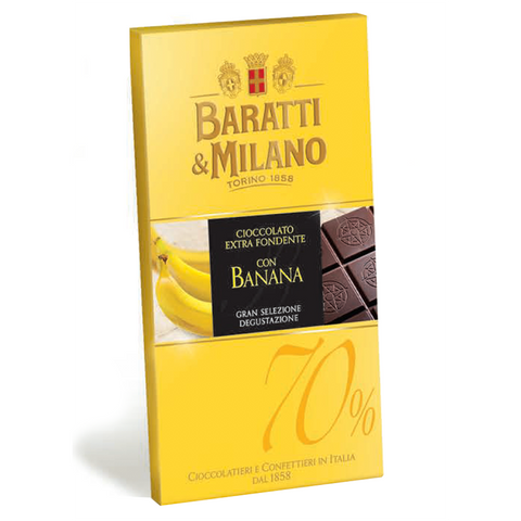 Baratti And Milano Dark Chocolate And Real Banana Bar  is made with a blend of 70% Baratti & Milano made cacao blend from Ghana and Ecuador and paired with the best bananas, that are freeze dried, to suspend the flavor into this chocolate bar. In protective aluminum packaging to preserve its delicate bouquet over time. Packaging is yellow and covered with images of whole bananas and also displaying the chocolate bar uncovered to see the richness and elegance of the chocolate itself.