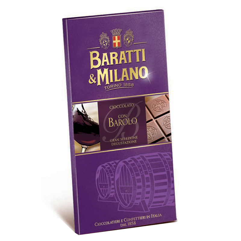 Baratti & Milano Barolo Wine Chocolate Bar is a milk chocolate bar including wine from the Barolo region of Italy. Packaged in a fascinating burgundy color with images of wine barrels, a glass of Barolo and a portion of the chocolate bar uncovered to showcase the elegance and richness of the bar.