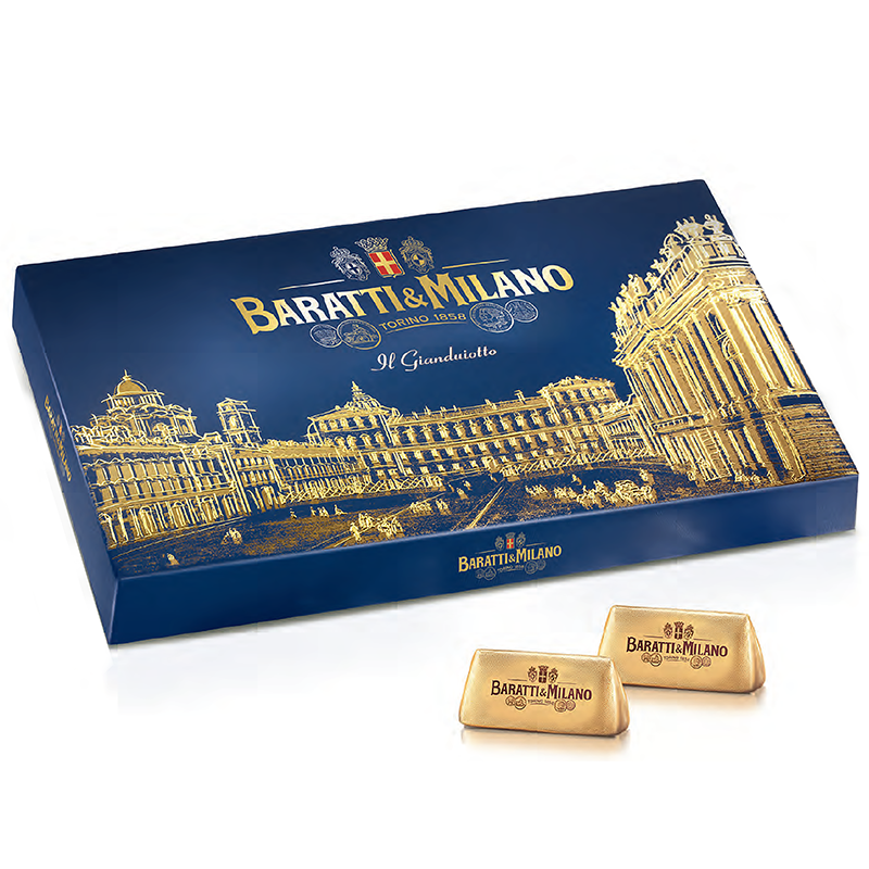 The Baratti & Milano Blue Gianduiotto Queen's Square gift box is covered in textured deep blue paper embossed with a gold foil sketch of the Piazza Castello in Turin, the Queen's square and her palace. This box contains about 24 pieces of Baratti & Milano's world famous and royal chocolate. Gianduiotti is a delectable mix of Baratti's famous milk chocolate made from a proprietary blend of the highest quality cacao beans  and Europe's best milk from Normandy France.