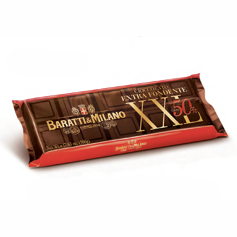 Regal in size, Baratti and Milano's XXL Extra Dark Chocolate Cooking Bar is perfect for the chef in all of us! Wrapped in red and brown wrapping with gold lettering, this chocolate can be used for truffles, dipping fruit or even the base to gelato.