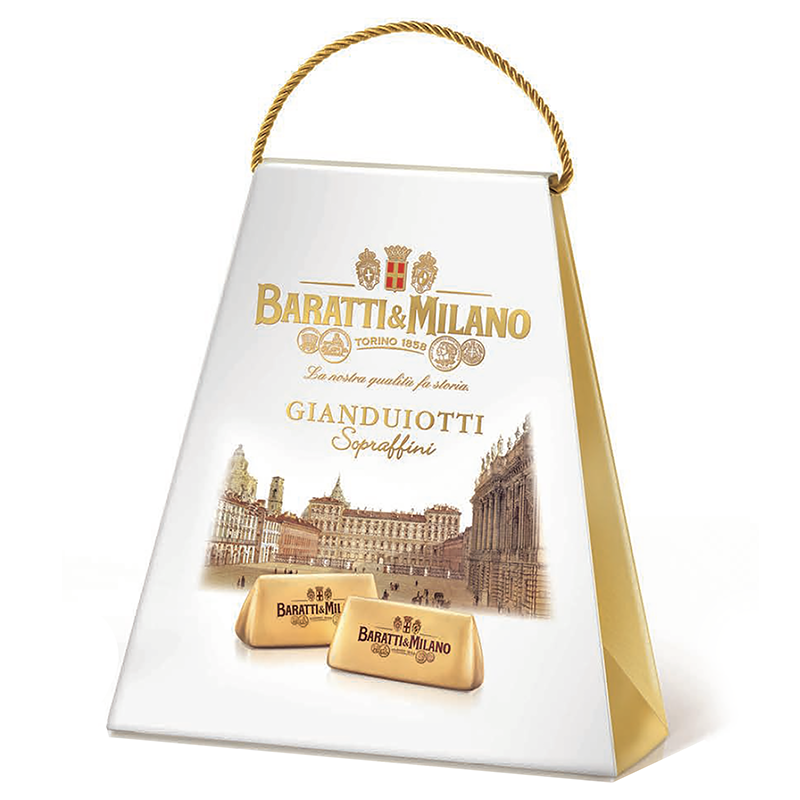 The Piazza Castello Ballotin from Baratti & Milano is an image of a purse like ballotin with a gold rope handle and on the package are gorgeous renderings of the Piazza Castello in Turin and two gianduiotti chocolates in the front . Tha package is an elegant white on a white background.