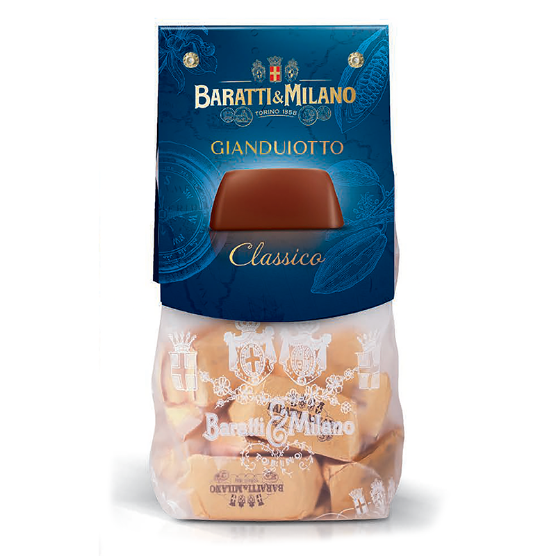 Beautifully wrapped in gold with a gold bar resemblance, the classic Baratti and Milano Gianduiotto is a perfect balance between milk chocolate and hazelnut.  It melts in your mouth and leaves a persistent finish well after it's gone.  Wrapped in the classic see through sacchetto sealed with the Royal House of Savoy crest!