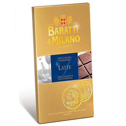 "Baratti & Milano Extra Fine Milk ""Latte""  Chocolate Bar  is a work of craftsmanship spanning over the finest farming, several artisanal works and the highest quality processes to create the world's smoothest best tasting milk chocolate. Packaged in a beautiful beige with images of deliciously smooth chocolate splashing and a portion of the chocolate is uncovered to show you the magnitude of how regal and delicious this chocolate is even before you take your first bite."