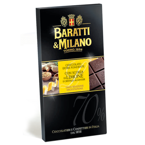Baratti Milano Lemon Limone Ginger 70% Chocolate Bar is a masterpiece containing a blend of cocoa beans from Ghana and Ecuador to create a perfectly balanced 70% chocolate paired with real Ginger and Sicilian Lemons. Packaged in an elegant black with a pop of yellow and highlighting images of lemon peels and fresh and grated ginger. Also showing you the unwrapped chocolate bar sealed with the Baratti & Milano logo and Royal Crest of Savoy.