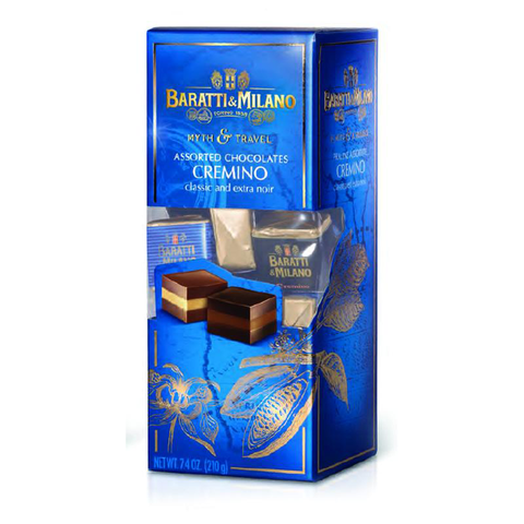 "Baratti & Milano Myth and Travel Box Cremino Classic and Dark Chocolates has two types of cremino made from ""Tonda e Gentile"" Italian Hazelnuts, the Cremino Classico and the Extra Noir Cremino. Packaged in a royal blue rectangular box with a peek a boo cut out allowing you to see the cremini packaged inside. On the package the cremini are uncovered allowing you to view the three layers of superb chocolate that make up the famous cremino chocolate!"