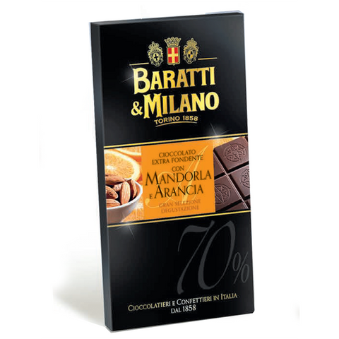 Baratti & Milano Chocolate Bar with Orange and Almonds is a masterpiece using a blend of cocoa beans from Ghana and Ecuador to create a perfectly balanced 70% chocolate paired with real Almonds and Oranges naturally grown in southern Italy. Packaged in an elegant black with a pop of orange and showing images of oranges and almonds and also includes an image of the chocolate bar uncovered to see the richness and elegance of the chocolate itself.