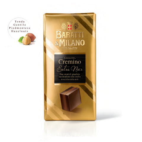 Sophistication at its finest with a gold foil wrapping this Baratti and Milano Cremino Bar Extra Noir made with the finest hazelnuts from the Piedmont region. Dark chocolate cream surrounds this classic cremino praline with creamy dark chocolate blended with hazelnut.