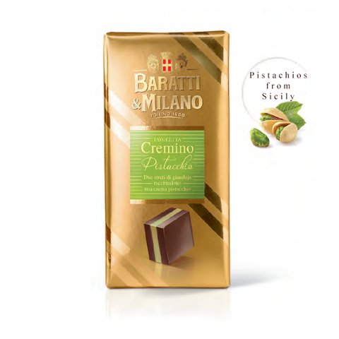 Elegant gold wrapping stamped with the Baratti and Milano Royal House of Savoy Crest. The Pistachio Cremino Bar shows the multidimensional layers of gianduja hazelnut surrounding a delicate and delicious pistachio cream made with pistachios from Sicily!