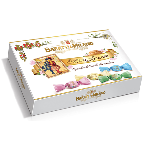 Baratti And Milano Luxury Italian Cookies Soffici Soft Amaretti Gift Box is packaged in an elegant white gift box with images of the cookies wrapped in their different colors of pastel pink, green, blue and cream. Baratti logo and title of the cookies written with gold accents and image of a playing card with a depiction of Royals on the card dressed in blue and red. All on a white background.