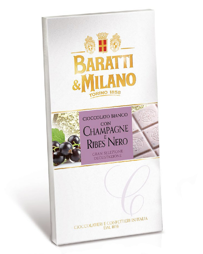 White Chocolate Bar with Champagne and Black Currants (1/2 Case)