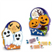 Baratti And Milano Giada Gelee Ghosts and Pumpkin Ballotin Fantasmini Halloween are Halloween inspired little boxes playfully depicting ghosts and bats on one side and pumpkins and bones on the other.  Inside, find four delicious Baratti & Milano Giada Gelée Fruit Candies also shown in the image and all on a white background.