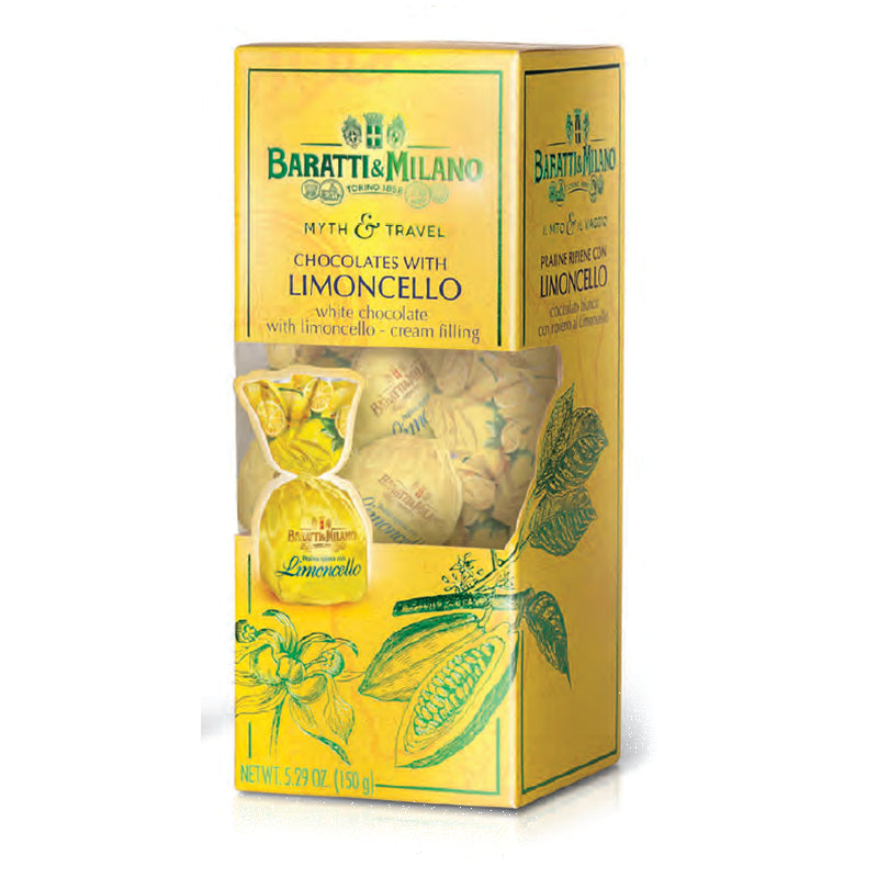 Baratti & Milano Myth and Travel Box White Chocolate Limoncello Praline contains the worlds best Limoncello Praline chocolates, made from the best Italian Lemons from Sorrento. Packaged in a gorgeous sunshine yellow with hints of luscious green and peek a boo cut out to see the pralines inside the box. Covered in green whimsical depictions of Cacao plants.