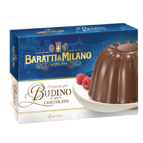 Baratti & Milano Chocolate Budino Mix is a classic pudding like dessert enriched with the intense flavor of Baratti & Milano good chocolate and has a rich and creamy mouthfeel. Comes in a rectangular box containing the Budino mix that serves 4 guests. The image shows the chocolate budino already prepared and being served with a side of berries.