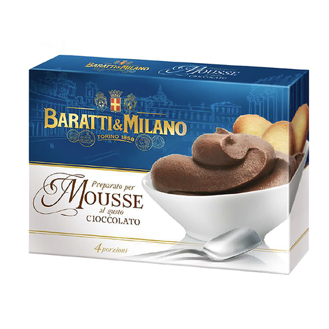 Baratti &Milano Italian Chocolate Mousse Mix is a spoon dessert, soft and with an enchanting taste giving the palate a deliciously smooth and velvety sensation of pure delicious Baratti & Milano chocolate. Make this easy mix Mousse at home, pipe into a beautiful dish or glass, and add some fresh berries and mint. Serves four and comes in a rectangular elegant blue box showing the image of a dish of velvety mousse served with some biscotti in the glass.