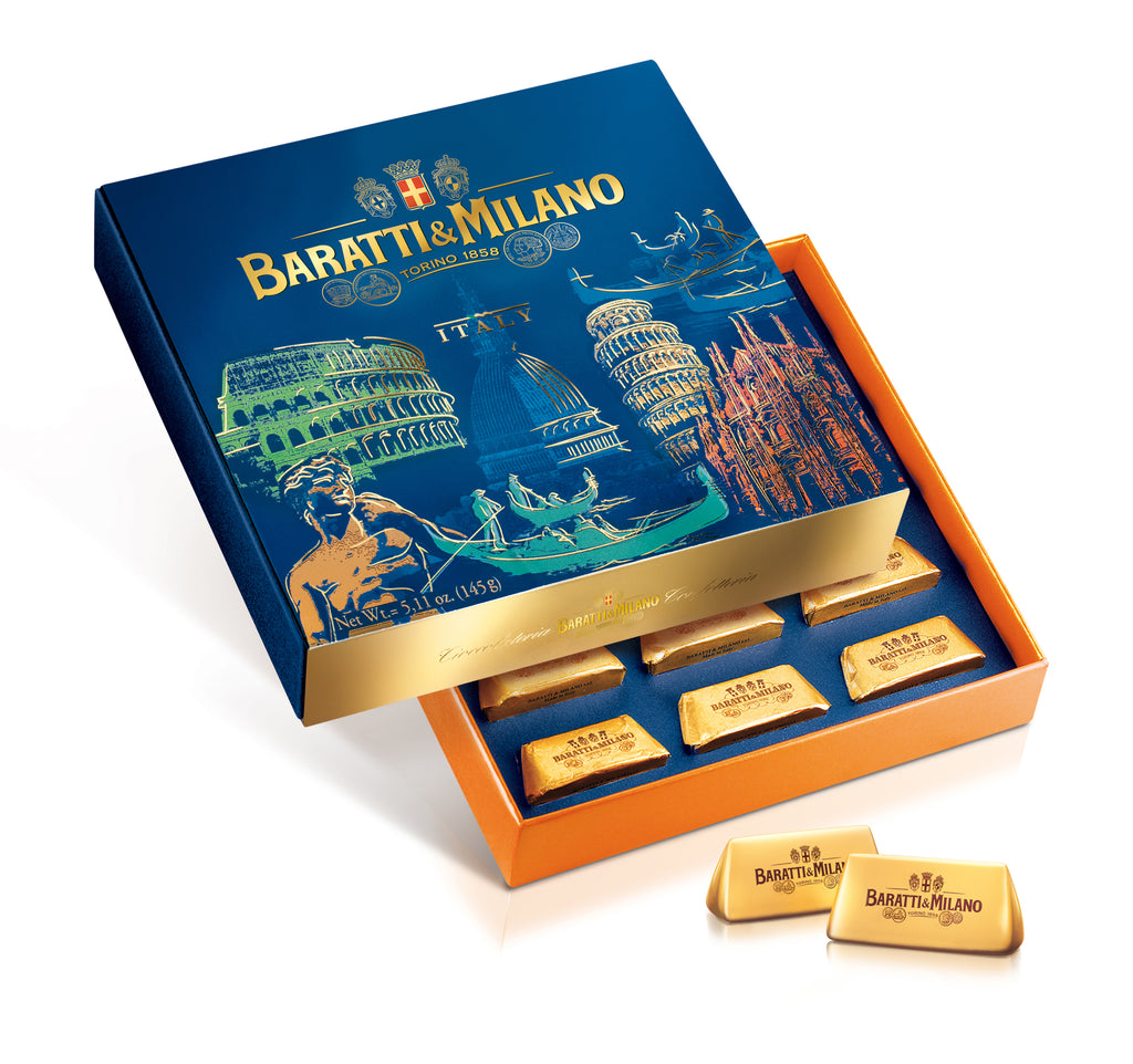 Baratti & Milano Tour of Italy Gianduiotti Box includes luscious milk chocolate and hazelnut gianduiotti chocolates and the elegant royal blue box depicts whimsical imagery of the most important landmarks of Italy including The Colosseum, Statue of David, A famous Gondola in Venice and more! Makes a perfect gift or way to commemorate a trip to Italy.