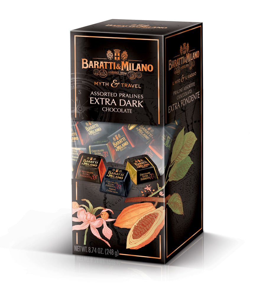 Baratti & Milano Myth & Travel Assorted Dark Chocolate set allows you to taste the perfection of chocolate blending of Cacao from Ghana and Ecuador. Enjoy the solid 70% chocolate, solid 88% chocolate and 70% chocolate filed with chocolate cream. Packaged in a luscious dark brown rectangular box with a peek a boo cut out to see the chocolates and with whimsical imagery of Cacao beans.