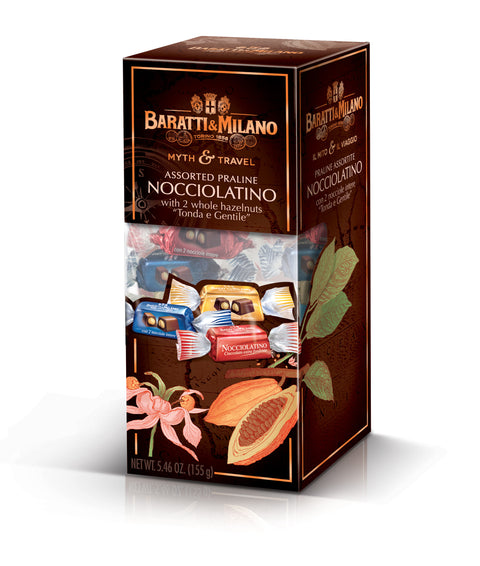 Baratti And Milano Myth and Travel Nocciolatino Assorted Praline whole Hazelnut Chocolates