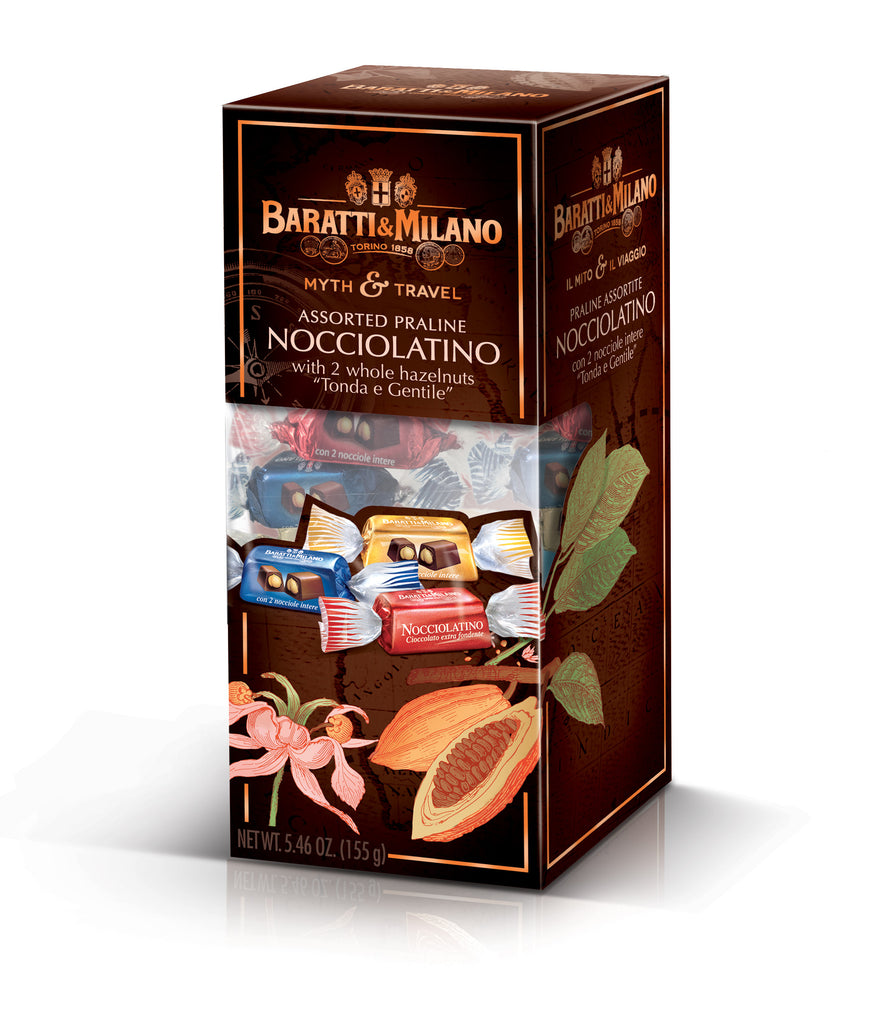 Myth and Travel Nocciolatino Assorted Praline Whole Hazelnut Chocolates (Case 10Pc)