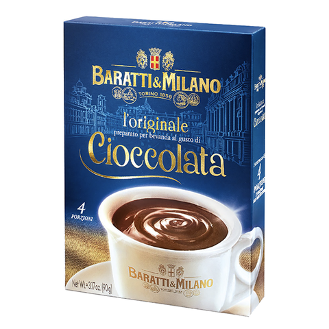 Baratti & Milano Original Hot Chocolate is prepared in the original recipe of Caffè Storico Baratti & Milano, in just a few minutes it allows you to enjoy a hot chocolate of divine goodness and velvety creaminess. Two packets serving 4 served in a Royal Blue Box displaying a gold foil sketch of the Piazza Castello in Turin, the Queen's Square and her palace In the background with the image of a creamy thick cup of hot chocolate in the forefront that awaits you!