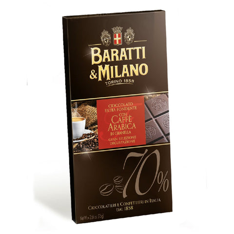 Baratti & Milano Dark Chocolate Bar with Arabica Coffee bar pairs 70% chocolate with the crunchy texture of crushed Arabica coffee beans.  When you first unwrap the gold foil, the aroma brings the same sensation as the first breath of your morning coffee. Wrapped in a dark coffee color packaging with imagery of chocolate, coffee beans, coffee sacks and a creamy espresso.