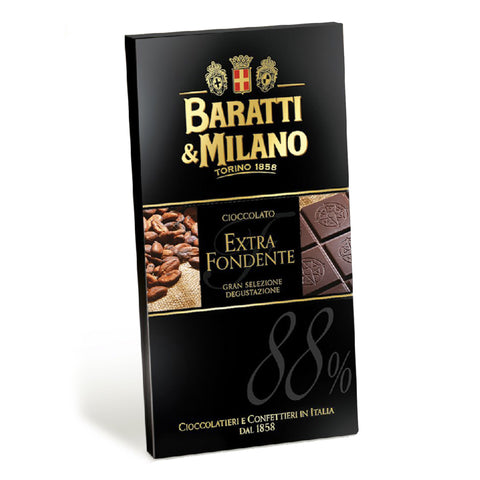 Baratti & Milano Extra Dark Chocolate 88% Bar unites Baratti & Milano's various Grandi Cru del Cacaos. Blending of the cacaos creates a subtle bouquet of flavors and aromas. Lowering the amount of added sugars gives this bar a silky, rich, and velvety mouthfeel. Packaged in an elegant black promoting the images of the dark chocolate itself allowing you to visualize its richness and the blend of the cocoa beans that create this masterpiece.